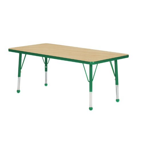Mahar Kids 36'' X 60'' Rectangle Table Top Color: Maple, Edge Color: Dustin Green, Leg Height: Standard 21''-30'', Glide Style: Ball by Mahar