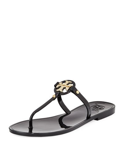 Tory Burch Womens Mini Miller Flat Thong Open Toe Beach, Black, Size - Thong Open Embroidered