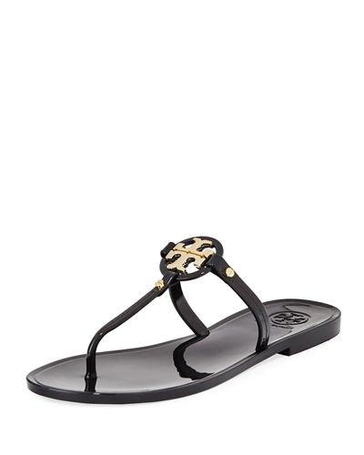 - Tory Burch Womens Mini Miller Flat Thong Open Toe Beach, Black, Size 8.0