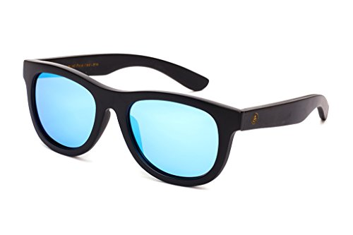 Classic Wayfarer Bamboo Sunglasses - Polarized Lens, Hard Case - Matte Black Frames, Ice Blue 53mm Lens - Tree - Tribe Tree Sunglasses