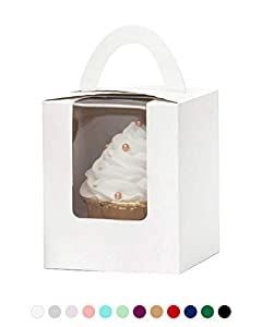Yotruth Pop-up White Bulk Cupcake Boxes Single 100 Sets with Window Insert and Handle (Classic Series)