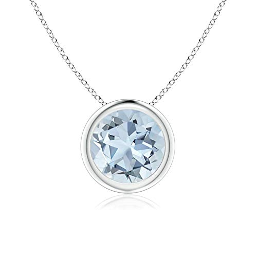 - Bezel Set Aquamarine Pendant Necklace in 14k White Gold (7mm), 18