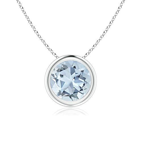 Bezel Set Aquamarine Pendant Necklace in 14k White Gold (7mm), -
