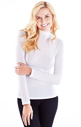 Ladies White Seamless Long Sleeve Turtleneck Top