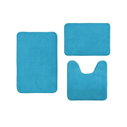 Websad_Christmas Coral Velvet Memory Cotton mat Bathroom Absorbent Non-Slip Carpet 3 pcs/Set (Light Blue) from Websa_ Home & Garden