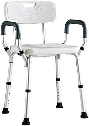 Bad Stuhl Duschhocker Bad Stuhl für Ältere, Schwangere Frau Rutschfeste Mit Rückenlehne Bad Sitz Duschstuhl Behinderte Person Mit Armlehnen Badhocker, Maximale Tragfähigkeit 115kg Badehilfen einstellb