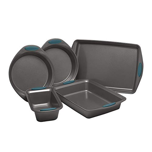 Rachael Ray Yum-o! Nonstick Oven Lovin' Bakeware Set, Gray with Marine Blue Handles. 5-Piece Set (Renewed)