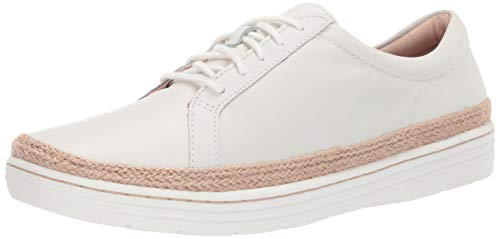 CLARKS Women's Marie Mist Sneaker, White Leather, 100 M US