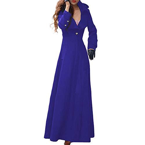 Coats for Women,HULKAY Clearance Premium Lapel Jacket Long Fashion Coat Ladies self-cultivation mopping windbreaker Tops(Dark Blue,S)
