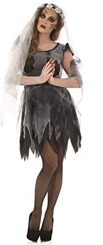 Ladies Sexy Dead Black Corpse Bride Halloween Fancy Dress Costume Outfit 8-22 Plus Size (UK -