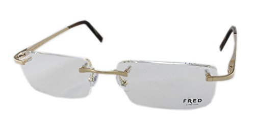 Fred Eyeglasses Frames - Fred Hauban F2 8361 Eyeglasses 007 Gold-Champagne / Brown-Black 57MM