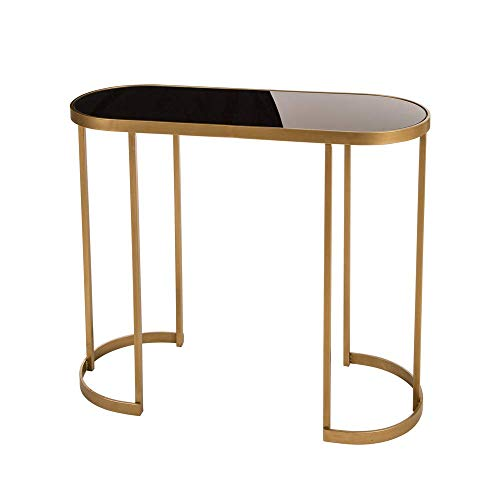 Glitzhome Deluxe Mirrored Gold Oval Metal Side Table with Glass Top