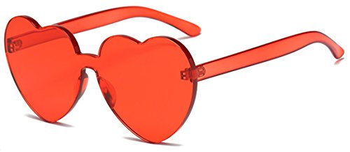 Heart Shape Rimless Sunglasses One Piece Transparent Candy Color - Face Shape Heart Male