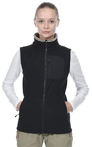 MIER Women's Full Zip Fleece Vest with Zipper Pockets Thick Sleeveless Jacket for Outdoor, Black, L ()
