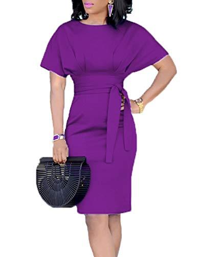 Women's Casual Pencil Dress Belt Elegant Short Sleeve Dress Wear to Work (Purple, M)