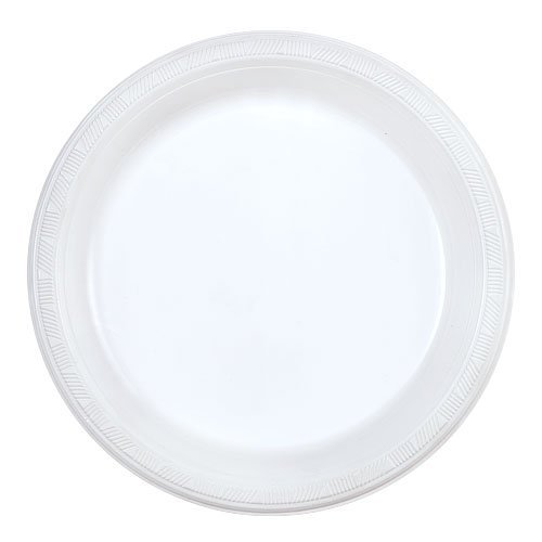 Party Dimensions 12900 9 in. White Plastic Plate - 600 Per Case by Party Dimensions