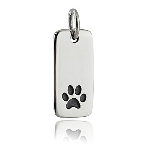 (Paw Print Charm - 925 Sterling Silver - Rectangle Disk Etched Design Pendant - Jewelry Accessories Key Chain Bracelets Crafting Bracelet Necklace Pendants)