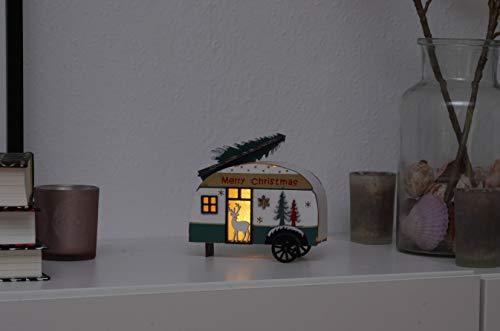 31DgmUBfkKL Holz Deko Wohnwagen mit Tannenbaum beleuchtet - LED Weihnachtsdekoration Tischdeko