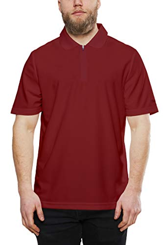Mens Zip Polo - Craft Men's Zip Polo Shirt Modern Zipper Style, Dry Fit for Golf, Workout T Bright Red