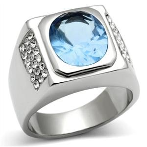 Charming Stainless Steel Menu0027s Ring With A Light Blue Stone In A Bezel Setting