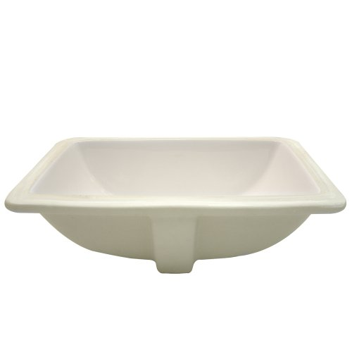 DECOLAV 1402-CBN Callensia Classically Redefined Rectangular Vitreous China Undermount Lavatory Sink with Overflow, Bone by Decolav