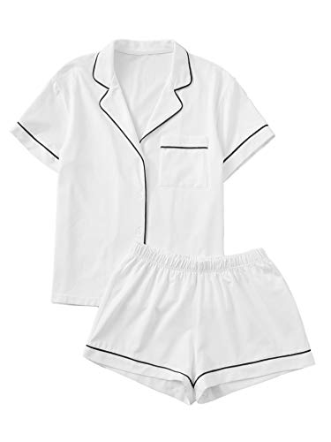 Floerns Women's Notch Collar Short Sleeve Sleepwear Two Piece Pajama Set White M