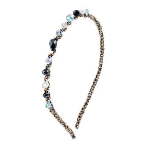 eDealMax Plastique Perles Bleu Clair Noir Slim Mtal cheveux Hoop Bandeau Pour Dames