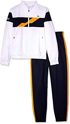- Lacoste Big Boy Sport Taffetas Color Block Chest Band Tracksuits, White/Navy Blue-Pomelo 16