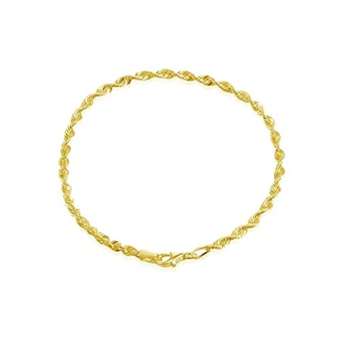 Yellow Gold Flashed Sterling Silver 2mm Twist Rope Chain Bracelet, 7 Inches (5mm Sterling Silver Rope)