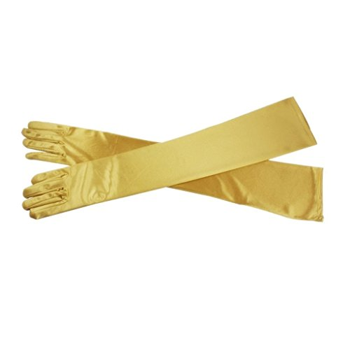 "Women's Long Satin Evening Party Costume Gloves 21"" Wedding Gloves For Brides Yellow"