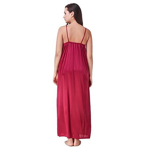Nityakshi Women s Satin Maroon Sleep Nighty with Robe Set - Suitable for All  Seasons fb93c9db0