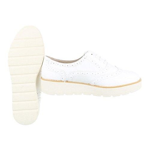 Ital-Design - Zapatos Planos con Cordones Mujer Weiß 62025