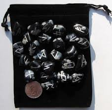 25pc Snowflake Obsidian Runes with Velvet Bag