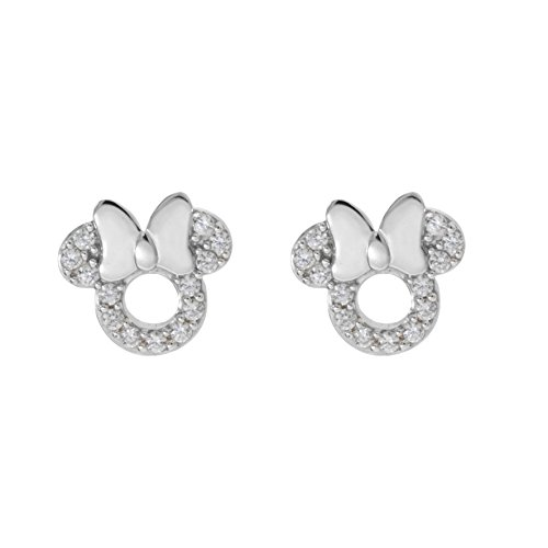 Disney Minnie Mouse Women Jewelry, Sterling Silver Clear Cubic Zirconia and Silver Bow Stud Earrings Mickey's 90th Birthday Anniversary
