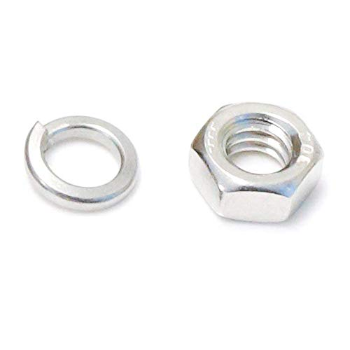 100 Packs Stainless Steel Hex 1/4'' Nuts For Screw Fastener w/Zinc Lock Washers by iJDMTOY