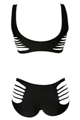 Frieda Fashion - Damen Schwarzer Strappy Bikini, XS-L, Schwarz