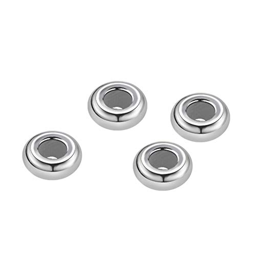 BENECREAT 4 PCS Sterling Silver Beads Round Stoppers with Rubber for Jewelry Making Handmade Bracelets Accessories Crafts Decoration - Hole Size, 0.5mm ()