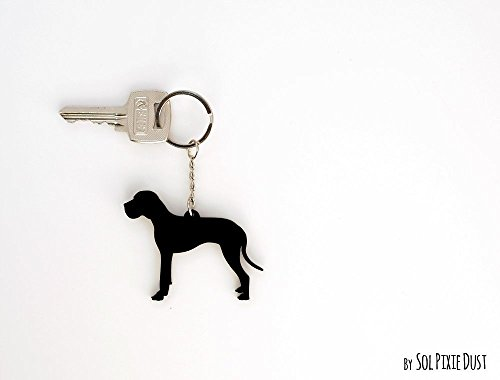Great Dane Dog Silhouette Keychain