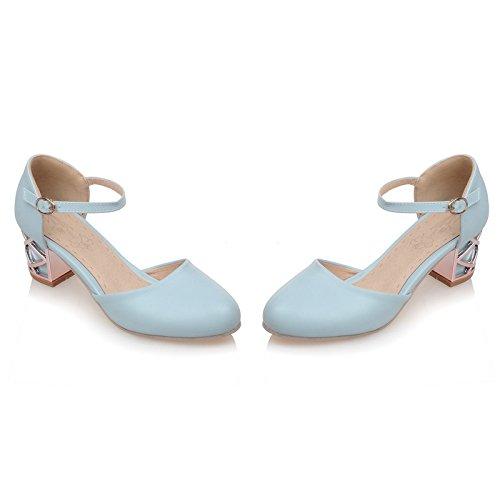 ZHZNVX Zapatos de verano nuevo Baotou simple con sandalias boca baja con una palabra hebilla sandalias femeninas Blue