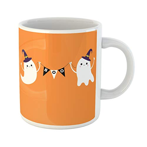 Semtomn Funny Coffee Mug Flying Ghost Spirit Holding Bunting Flag Boo Witch Hat Two 11 Oz Ceramic Coffee Mugs Tea Cup Best Gift Or Souvenir -