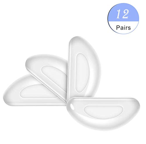 Silicone Eyeglass Nose Pads Sticky, Hypo-allergenic Adhesive Nose Grips for Glasses and Sunglasses 12 Pairs -