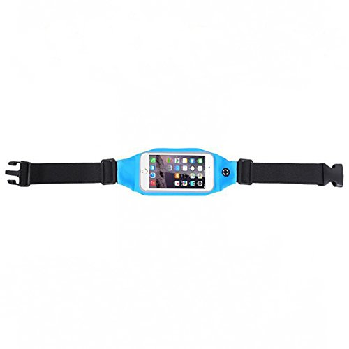 Evtech(tm) [Expandable Waist Pack Belt] Men and Women Sports, Running and Fitness Movement Visible Touch-screen Phone Earphone Pocket for Hold 5 inch Screen (Blue)