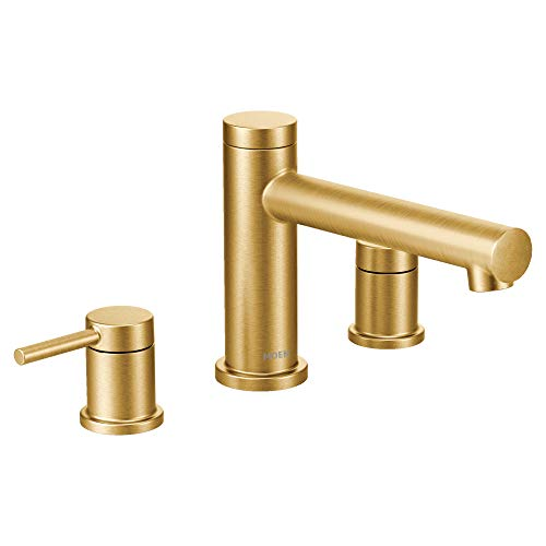 Moen T393BG Align 2-Handle Deck Mount Modern Roman Tub Faucet Trim Kit, Valve Required, Brushed Gold (Roman Style Bathtub Faucet)