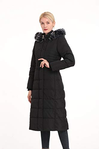 Polydeer Women's Vegan Down Puffer Hooded Jacket,Full Long Thickened Winter Coat with Faux Fur,Classic Warm Parka for Ski