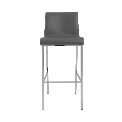 (Euro Style Cam Leather Bar Height Dining Stool with Chromed Base, Set of 2,)