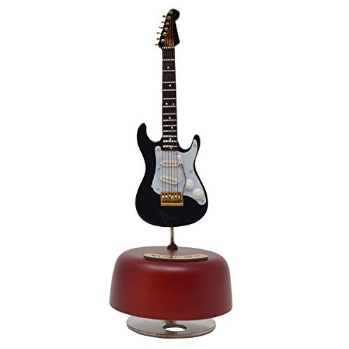 KingPoint Electric Guitar Music Box Rotating Musical Base Instrument Miniature Creative Artware Home Decorations