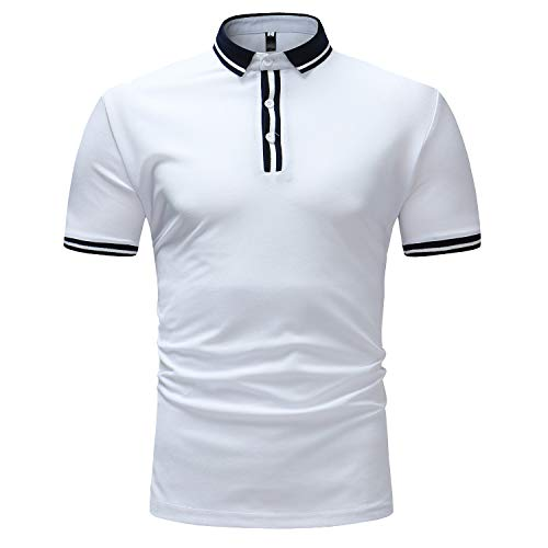 RAINED-Mens Short Sleeve Casual T Shirt Hipster Premium Tees Stylish Fitness Athletic Polo Pique Classic Fit Golf Shirts White