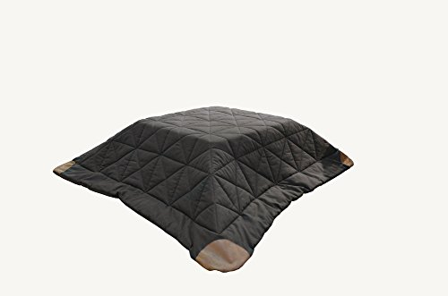 AZUMAYA KK-110 Kotatsu Futon Rectangle Shape, Dark Brown Polyester Fabric Material and Synthetic Leather Corner Finish, W90.0 x D75.0 Inches, Home and Living