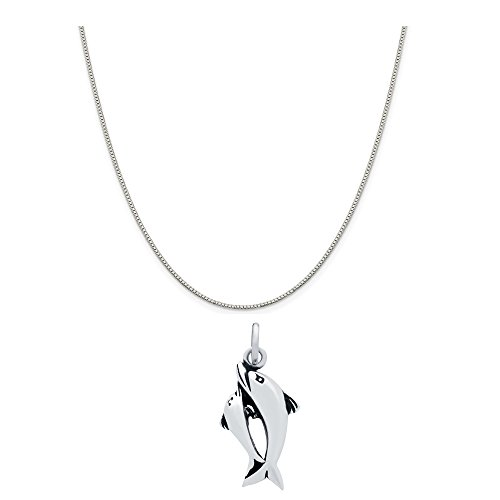- Sterling Silver Swimming Double Dolphin Charm Necklace on an 18 inch Box Chain
