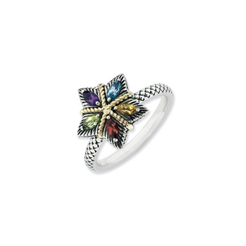 Sterling Silver,14k Yellow Gold Accent & Genuine Multi-Gem Stackable Star Ring, Size (14k Multi Gem Ring)